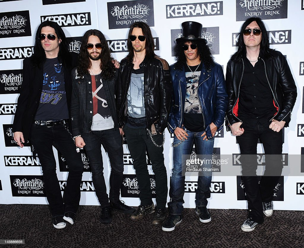 Slash (2nd from R) poses with Alter Bridge at the Kerrang! Awards at The Brewery on June 7, 2012 in London, England.