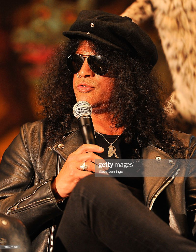 Slash speaks on the panel 'Speaking In The Key Of Horror' at Kirk Von Hammett's Fear FestEvil at Grand Regency Ballroom on February 8, 2014 in San Francisco, California.