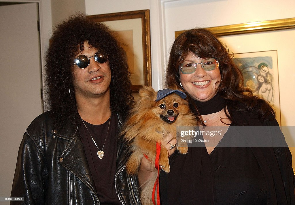 Slash, wife Perla & their dog <a gi-track='captionPersonalityLinkClicked' href=/galleries/search?phrase=Foxy+Brown&family=editorial&specificpeople=209235 ng-click='$event.stopPropagation()'>Foxy Brown</a> during Exhibition by Celebrity Animal Photographer Christopher Ameruoso at Hamilton-Selway Fine Arts in West Hollywood, California, United States.