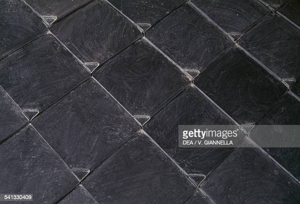 Slate shingles typical Ligurian roofs Liguria Italy