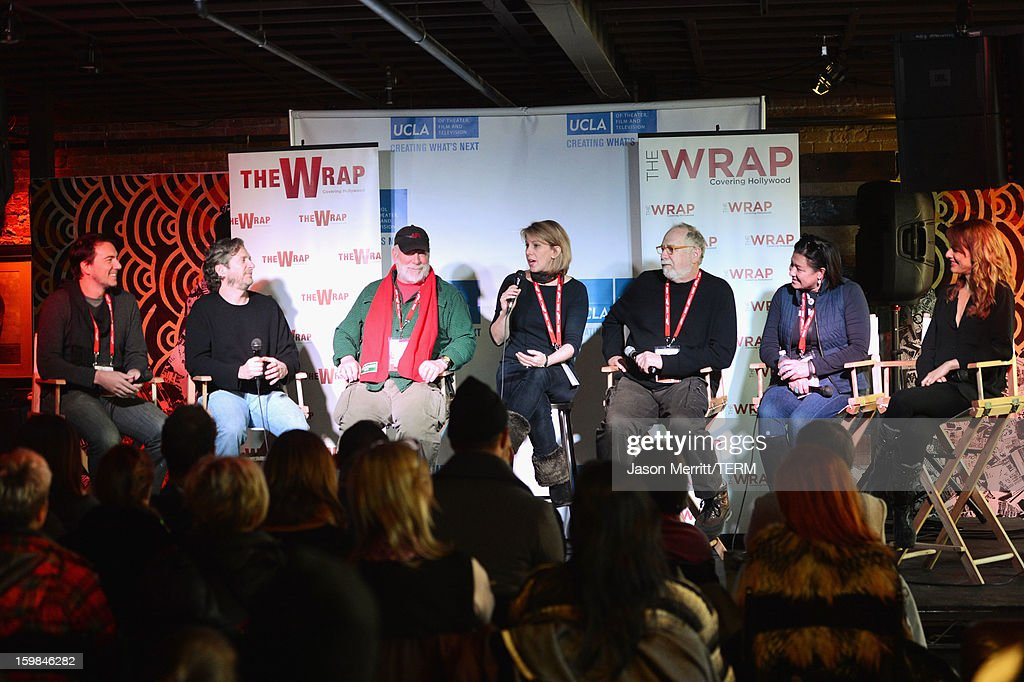 Slated co-founder and CEO Duncan Cork, Maker Studios Chief Development Officer Chris M. Williams, director Rick Rosenthal, The Wrap founder Sharon Waxman, producer Jonathan Dana, IndieFlix co-founder and CEO Scilla Andreen and director Lynn Shelton speak during UCLA and The Wrap Sundance 2013 Panel at The Claim Jumper on January 21, 2013 in Park City, Utah.