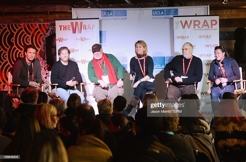 Slated co-founder and CEO Duncan Cork, Maker Studios Chief Development Officer Chris M. Williams, director Rick Rosenthal, The Wrap founder Sharon Waxman, producer Jonathan Dana and IndieFlix co-founder and CEO Scilla Andreen speak during UCLA and The Wrap Sundance 2013 Panel at The Claim Jumper on January 21, 2013 in Park City, Utah.