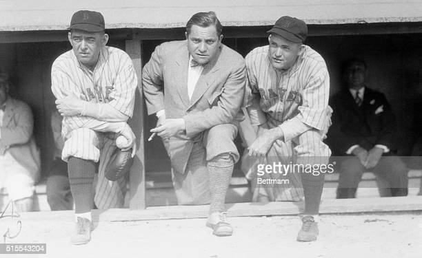 A J Slattery and Jack Slattery Manager of the Boston Braves baseball team are shown with Emit Tuchs owner and Rogers Hornsby Captain of the Boston...