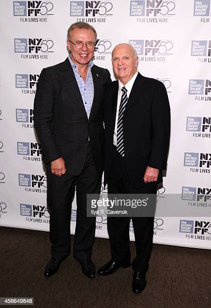 Slava Fetisov and General Manager of NJ Devils Lou Lamoriello attend the 'Red Army' photo call during the 52nd New York Film Festival at Walter Reade...