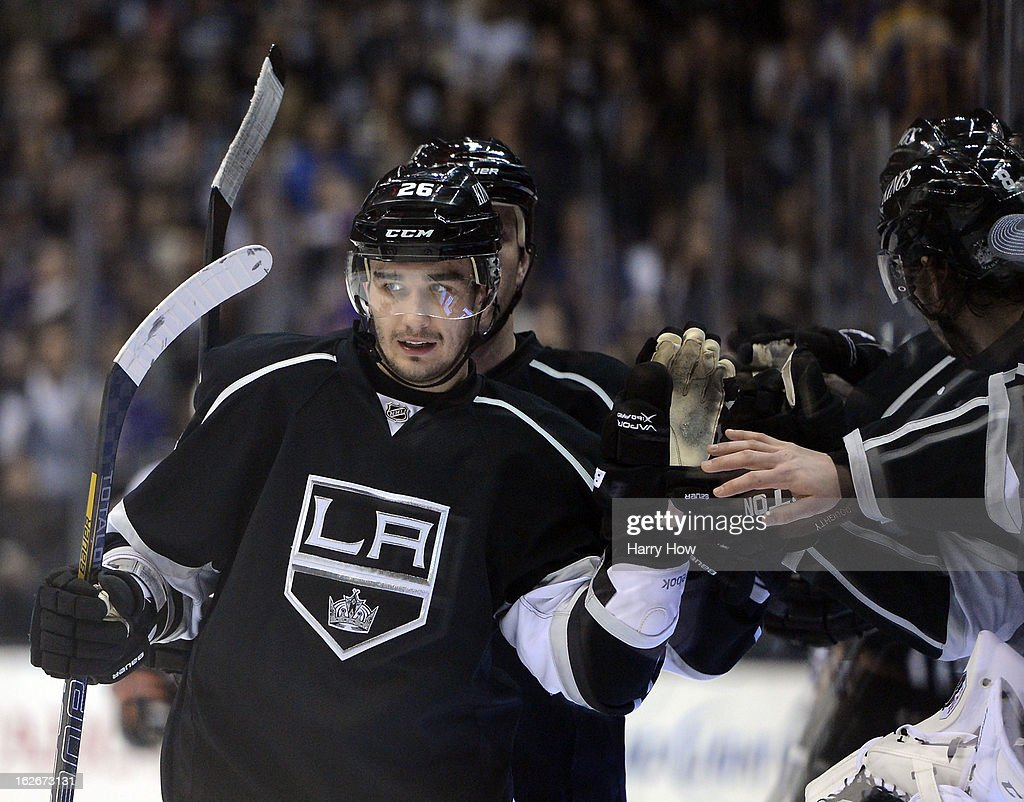 <a gi-track='captionPersonalityLinkClicked' href=/galleries/search?phrase=Slava+Voynov&family=editorial&specificpeople=8315719 ng-click='$event.stopPropagation()'>Slava Voynov</a> #26 of the Los Angeles Kings celebrates his goal for 4-2 lead over the Anaheim Ducks during the third period at Staples Center on February 25, 2013 in Los Angeles, California.