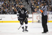 Slava Voynov of the Los Angeles Kings is called for a penalty in overtime against the New York Rangers during Game Five of the 2014 Stanley Cup Final...