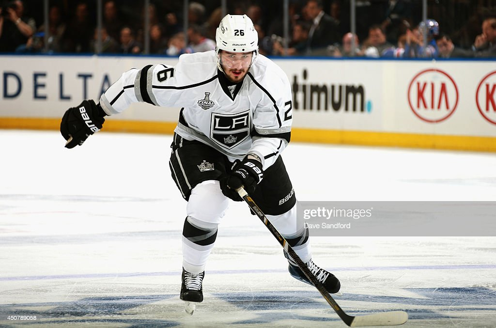 Slava Voynov of the Los Angeles Kings plays against the New York Rangers in Game Four of the 2014 Stanley Cup Final at Madison Square Garden on June...