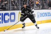 Slava Voynov of the Los Angeles Kings skates against the Anaheim Ducks in Game Six of the Second Round of the 2014 Stanley Cup Playoffs at Staples...
