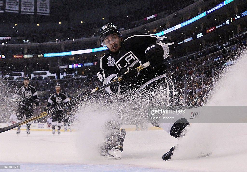 Slava Voynov of the Los Angeles Kings skates against the New York Rangers during Game One of the 2014 NHL Stanley Cup Final at the Staples Center on...