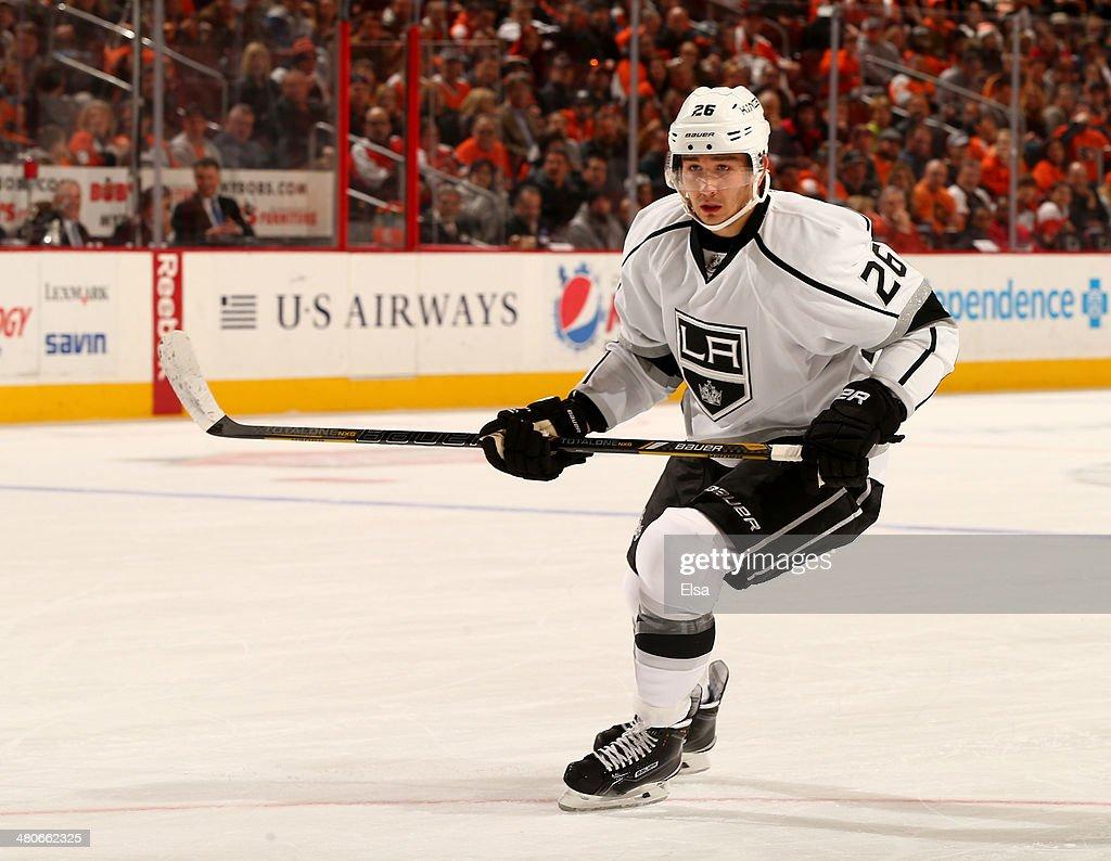 Slava Voynov of the Los Angeles Kings skates against the Philadelphia Flyers at Wells Fargo Center on March 24 2014 in Philadelphia Pennsylvania