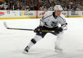Slava Voynov of the Los Angeles Kings skates against the Pittsburgh Penguins on March 27 2014 at Consol Energy Center in Pittsburgh Pennsylvania