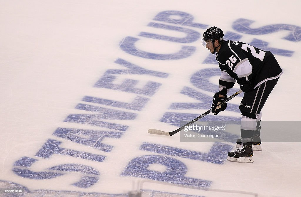 Slava Voynov #26 of the Los Angeles Kings stands at the point prior to a faceoff in the second period during Game Six of the Western Conference Quarterfinals against the St. Louis Blues during the 2013 NHL Stanley Cup Playoffs at Staples Center on May 10, 2013 in Los Angeles, California. The Kings defeated the Blues 2-1 to win the series 4 games to 2 and advance to the Western Conference Semifinals.