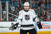 Slava Yoynov of the Los Angeles Kings skates against the San Jose Sharks in Game Two of the First Round of the 2014 NHL Stanley Cup Playoffs at SAP...