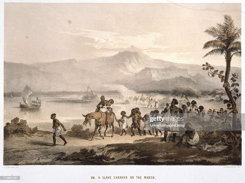 Slave Caravan on the March Ethiopia Tinted lithograph after drawing by JM Bernatz published London 1852
