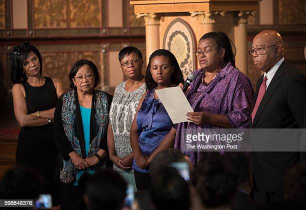 Slave descendants Sandra Green Thomas Patricia BayonneJohnson Zeita Kemp Melissa Kemp Karran Harper Royal and Joseph Steward speak at Georgetown...