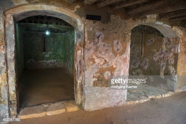 Slave quarters in one of the slave houses on Goree Island in the Atlantic Ocean outside of Dakar in Senegal West Africa