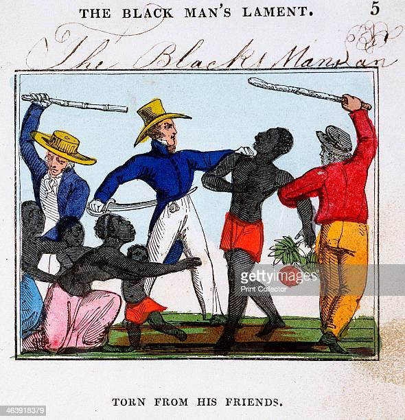 Slave traders 1826 European slavers brutally tearing a man from his wife and family before putting them on board a slave ship From The Black Man's...