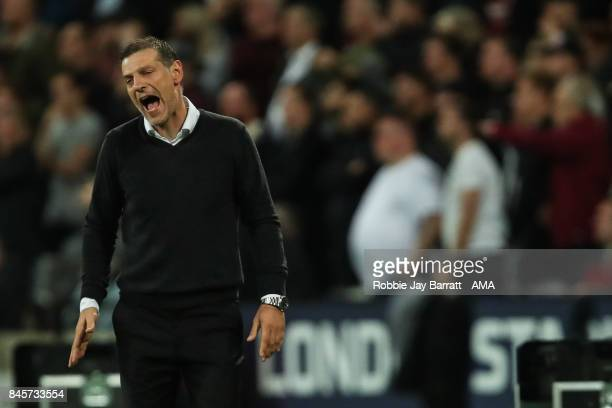Slaven Bilic manager / head coach of West Ham United during the Premier League match between West Ham United and Huddersfield Town at London Stadium...