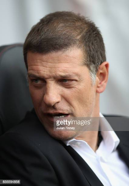 Slaven Bilic manager of West Ham looks on during the Premier League match between Southampton and West Ham United at St Mary's Stadium on August 19...