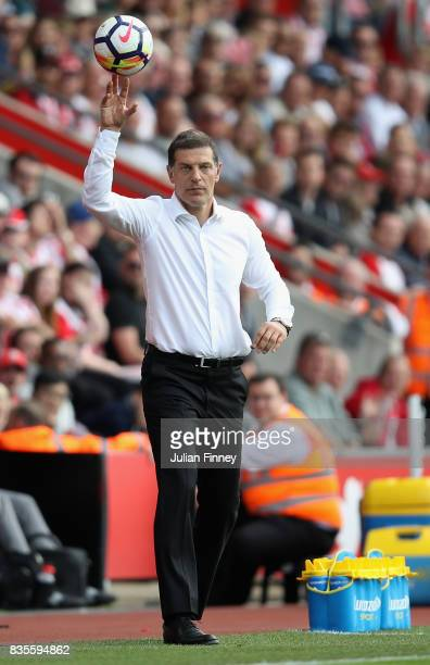 Slaven Bilic manager of West Ham throws the ball back during the Premier League match between Southampton and West Ham United at St Mary's Stadium on...