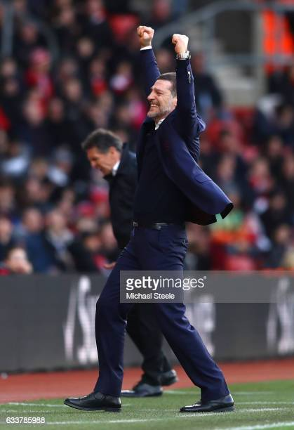 Slaven Bilic Manager of West Ham United celebrates his team's second goal during the Premier League match between Southampton and West Ham United at...