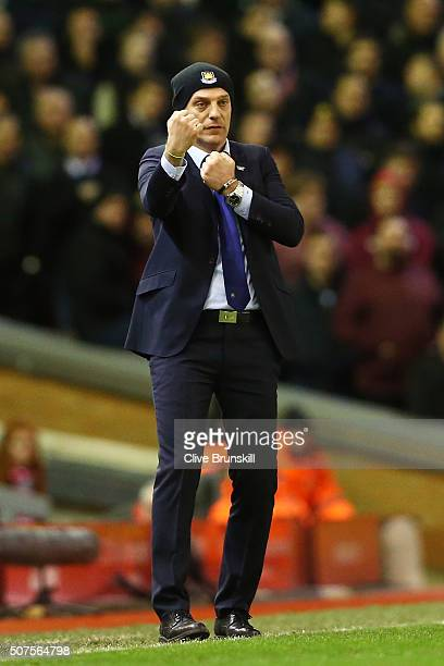 Slaven Bilic manager of West Ham United gestures during the Emirates FA Cup Fourth Round match between Liverpool and West Ham United at Anfield on...