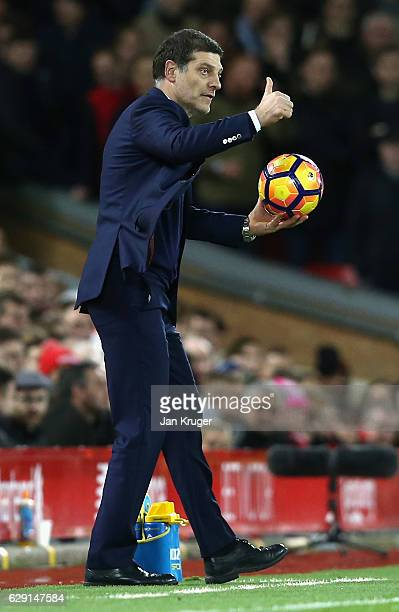 Slaven Bilic manager of West Ham United gives a thumbs up during the Premier League match between Liverpool and West Ham United at Anfield on...