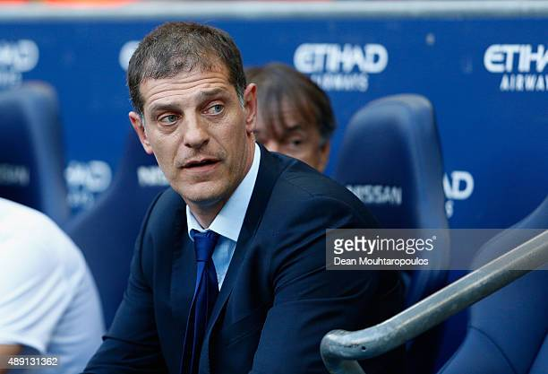 Slaven Bilic manager of West Ham United looks on during the Barclays Premier League match between Manchester City and West Ham United at Etihad...