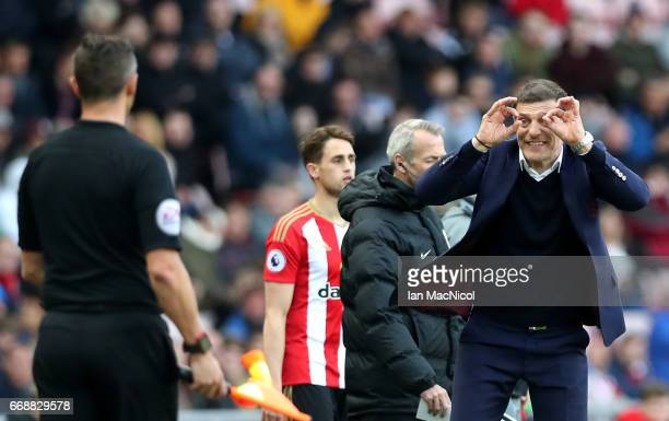 Slaven Bilic Manager of West Ham United reacts during the Premier League match between Sunderland and West Ham United at Stadium of Light on April 15...