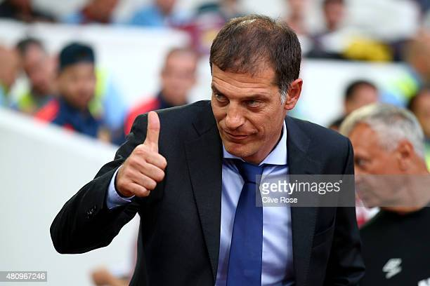 Slaven Bilic of West Ham gestures to the supporters prior to the UEFA Europa League second qualifying round match between West Ham and FC Birkirkara...