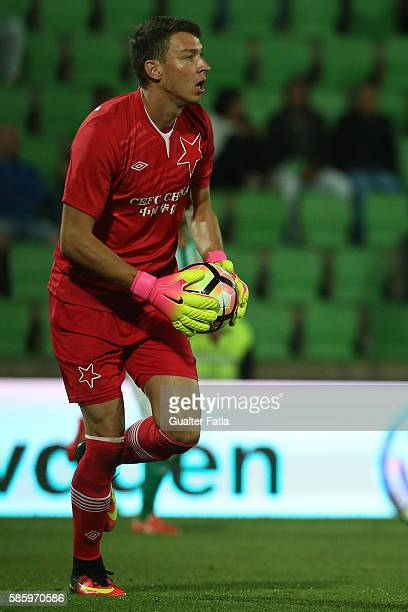 Slavia PrahaÕs goalkeeper Jiri Pavlenka in action during the UEFA Europa League Qualifications SemiFinals 2nd Leg match between Rio Ave FC and Slavia...