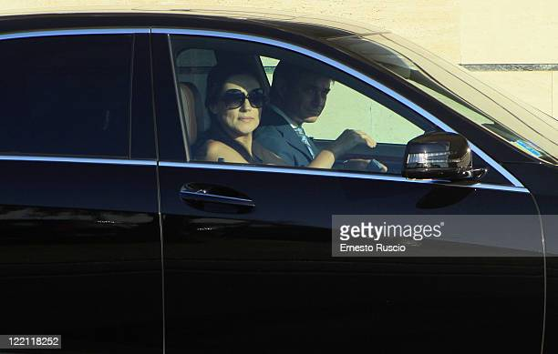 Slavica Ecclestone sighting at Ciampino Airport as she arrives for Petra Ecclestone and James Stunt's wedding on August 25 2011 in Rome Italy