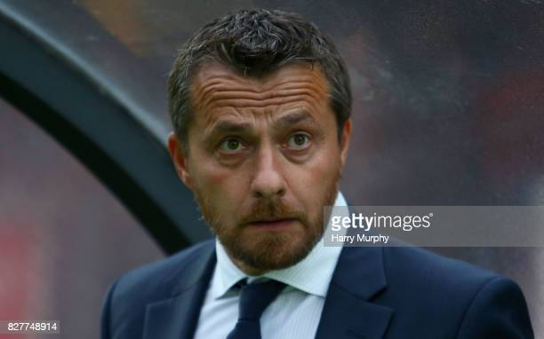 Slavisa Jokanovic Head Coach of Fulham looks on prior to the Carabao Cup First Round match between Wycombe Wanderers and Fulham at Adams Park on...
