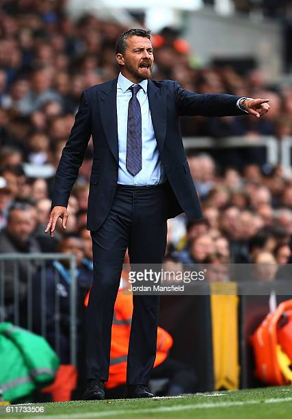 Slavisa Jokanovic manager of Fulham gestures during the Sky Bet Championship match between Fulham and Queens Park Rangers at Craven Cottage on...