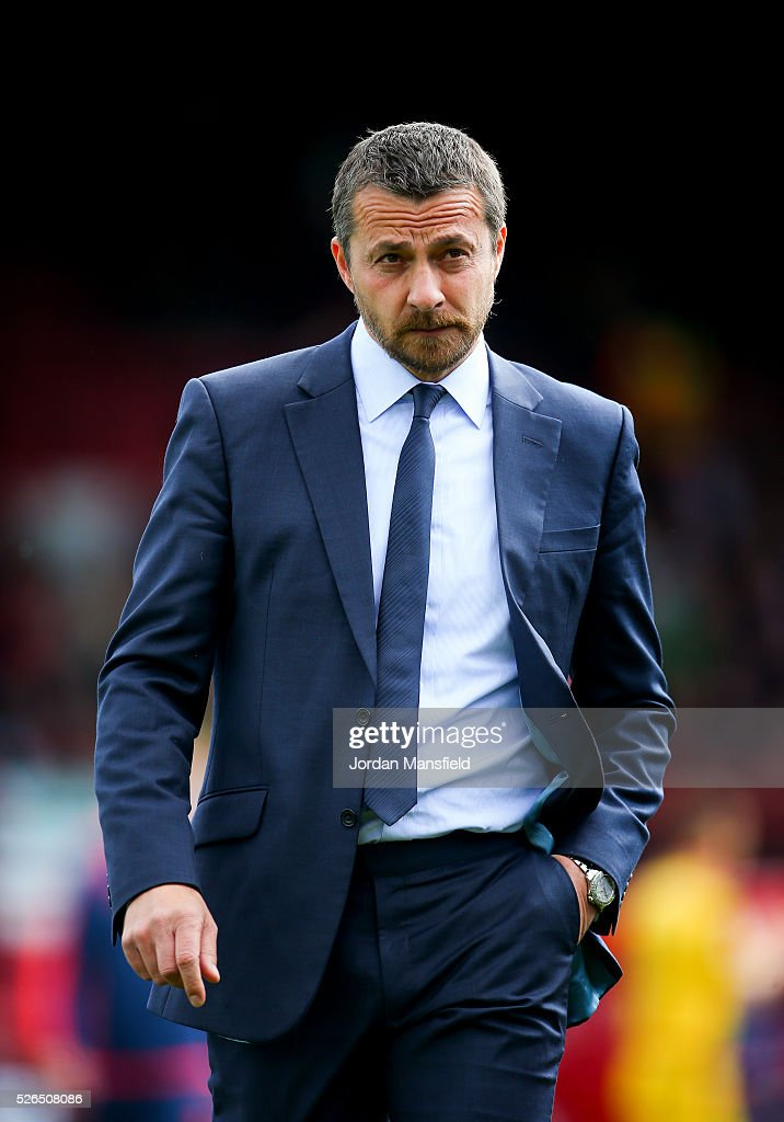 Slavisa Jokanovic, manager of Fulham looks on prior to the Sky Bet Championship match between Brentford and Fulham at Griffin Park on April 30, 2016 in Brentford, England.