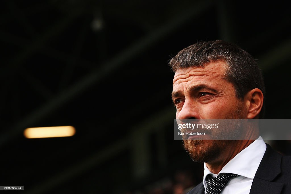 Slavisa Jokanovic the Fulham Head Coach looks on before the Sky Bet Championship match between Fulham and Derby County at Craven Cottage on February 6, 2016 in London, England.