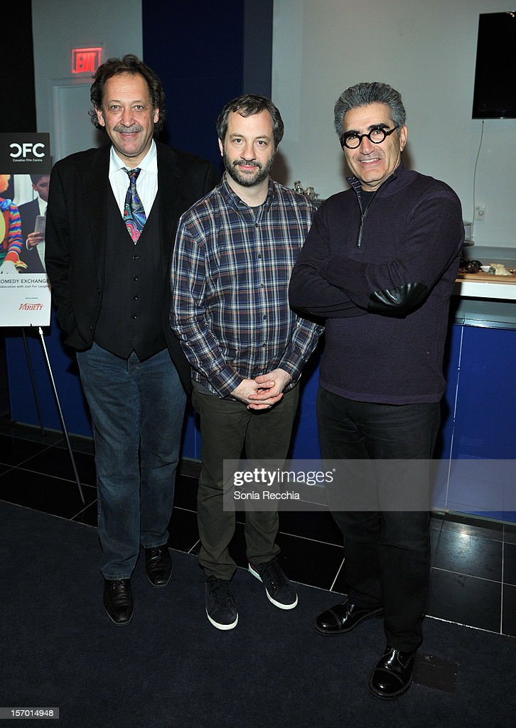 Slawko Klymkiw, <a gi-track='captionPersonalityLinkClicked' href=/galleries/search?phrase=Judd+Apatow&family=editorial&specificpeople=854225 ng-click='$event.stopPropagation()'>Judd Apatow</a> and <a gi-track='captionPersonalityLinkClicked' href=/galleries/search?phrase=Eugene+Levy&family=editorial&specificpeople=215201 ng-click='$event.stopPropagation()'>Eugene Levy</a> attend CFC Presents An Evening With Leslie Mann And <a gi-track='captionPersonalityLinkClicked' href=/galleries/search?phrase=Judd+Apatow&family=editorial&specificpeople=854225 ng-click='$event.stopPropagation()'>Judd Apatow</a> at TIFF Bell Lightbox on November 26, 2012 in Toronto, Canada.