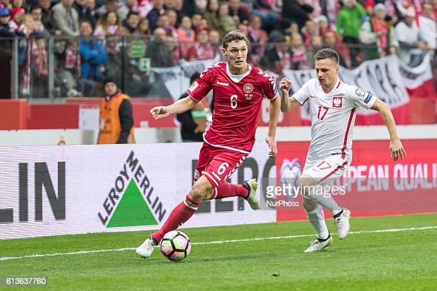 Slawomir Peszko Andreas Christensen during the 2018 FIFA World Cup qualification match between Poland and Denmark national football teams at National...