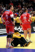 Slawomir Szmal goalkkeper of Poland looks dejected after the Men's Handball European place 3 match between Iceland and Poland at the Stadthalle on...