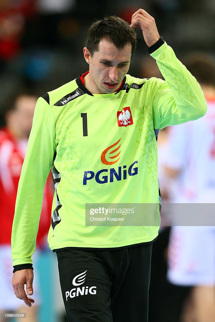 Slawomir Szmal of Poland looks dejected during the round of sixteen match between Hungary and Poland at Palau Sant Jordi on January 21, 2013 in Barcelona, Spain.