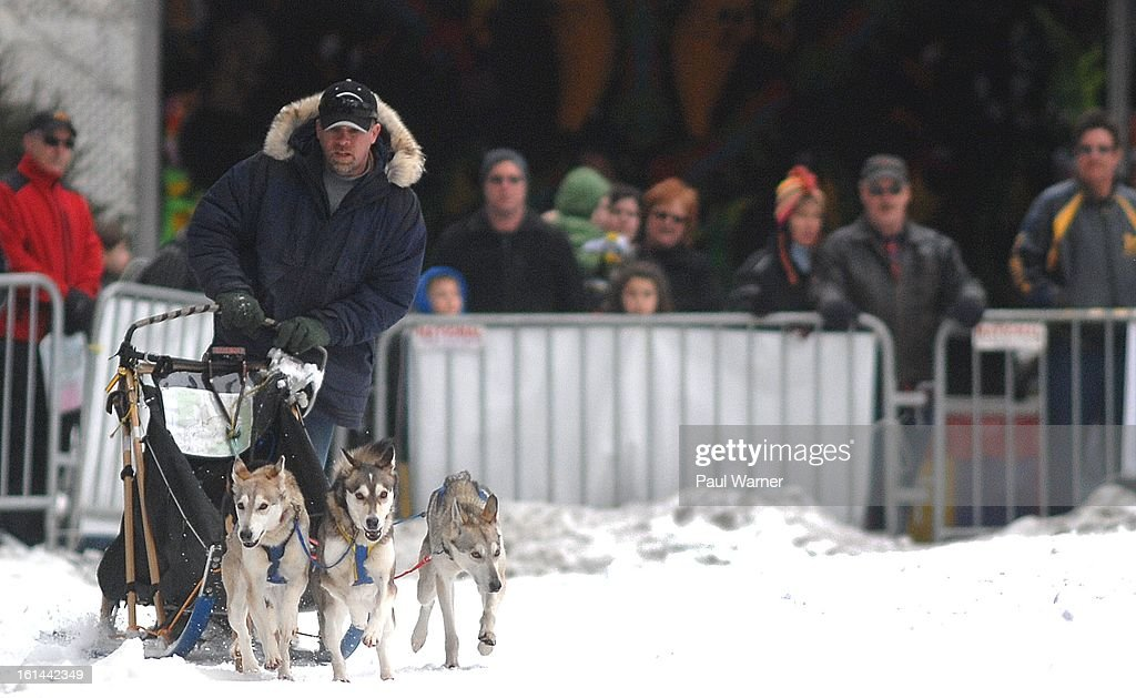 Sled dogs run during a demonstration at Motown Winter Blast at Campus Martius Park on February 10, 2013 in Detroit, Michigan.
