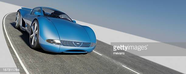 Sleek blue sports car alone road blue sky background front