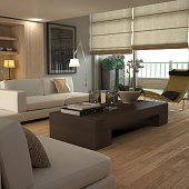 Soft-edged modern interior with wood colours and contemporary furniture