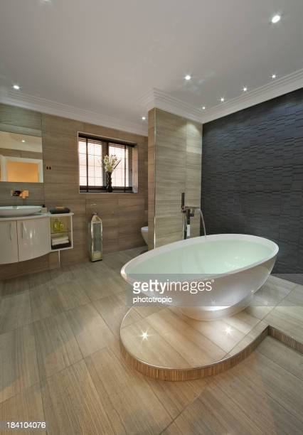 Sleek, minimalist, modern bathroom with bathtub
