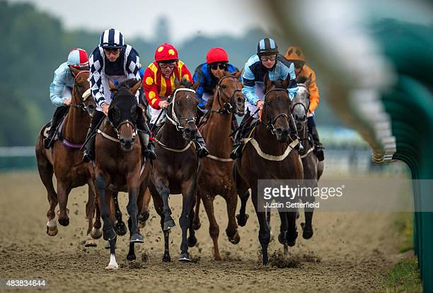 Sleep Easy ridden by Martin Harley on the way to winning the PMW Communications Handicap at Lingfield Park on August 13 2015 in Lingfield England