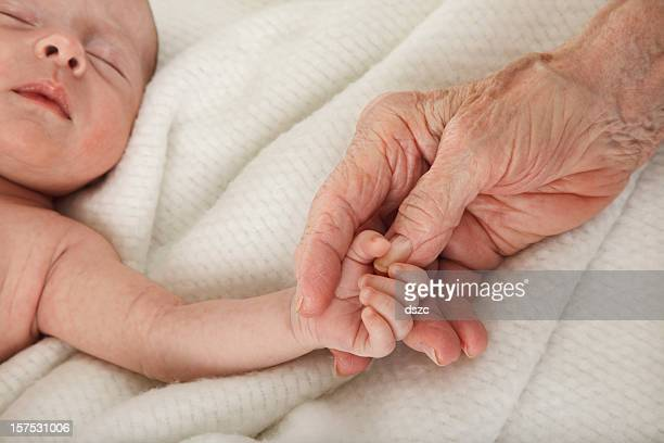 sleeping baby holding great grandmother's hand
