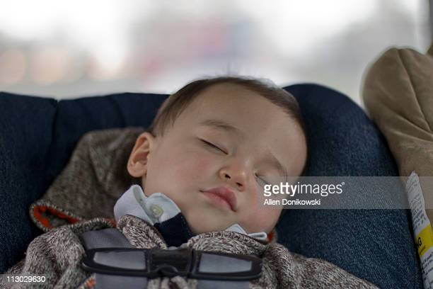 sleeping baby in the car