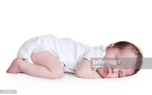 Schlafen baby, isoliert auf weiss