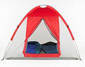 Sleeping bags inside tent