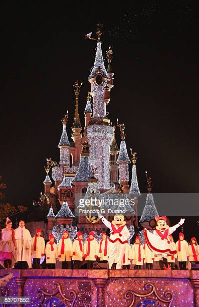 Sleeping Beauty Castle of Disneyland Resort Paris during the Christmas Lights Switching on day on November 15 2008 in Marne la Valle France